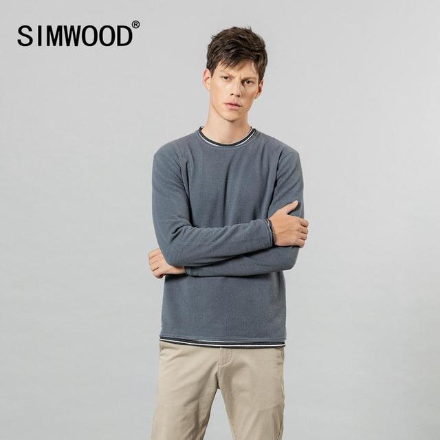 SIMWOOD 2019 sonbahar kış yeni çift katmanlı kazak erkekler kontrast renk çizgili örme kazaklar temel kaliteli giysiler 584