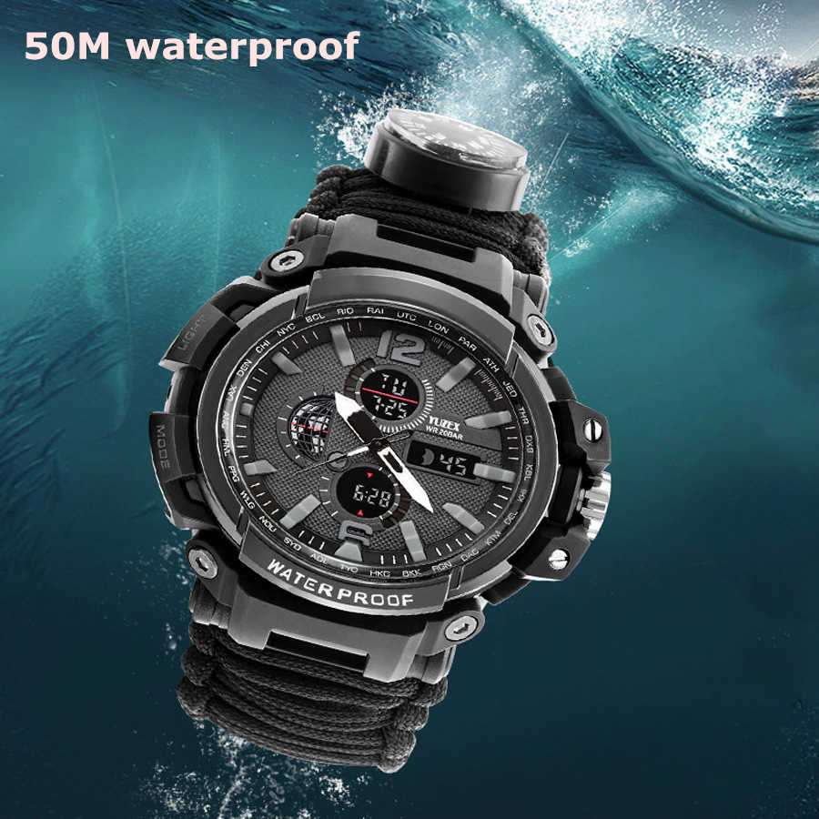 Emergency Survival Wristwatch Multi-function Outdoor 7 In 1 Equipment With