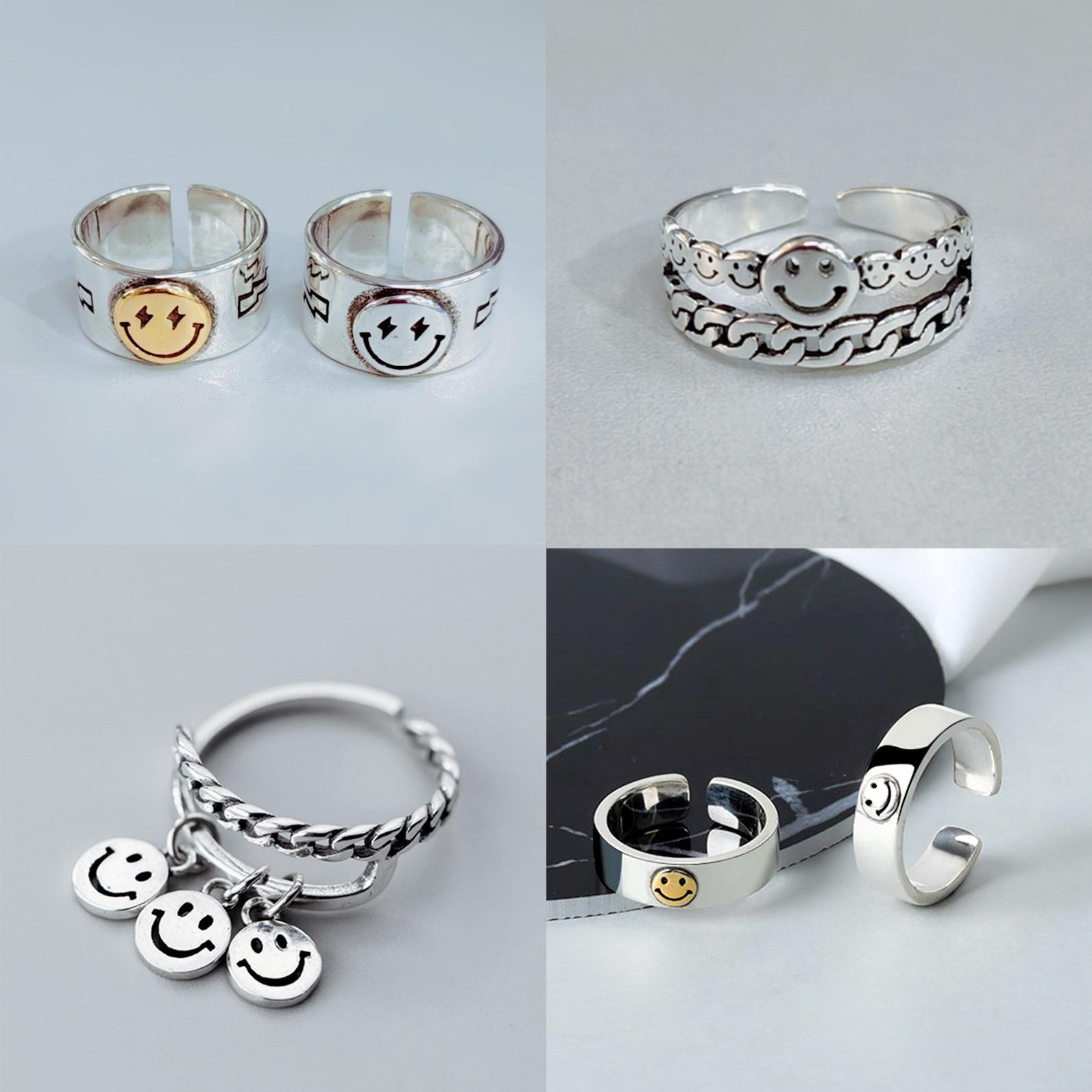 Женские медные кольца в стиле панк, винтажные Серебристые Регулируемые кольца на палец в виде счастливой улыбки, ювелирные изделия, подарок...
