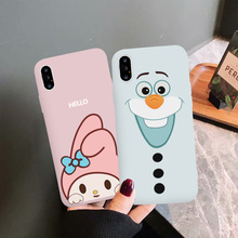 JAMULAR Cartoon Olaf Melody Phone Case For iPhone 7 XS MAX XR X 8 6 6s Plus Pink White Silicone Soft Back Cover Cute Funda Coque