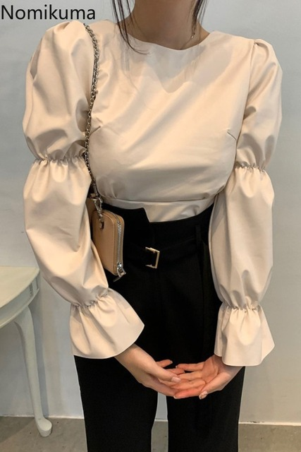 Nomikuma Backless Lace Up Puff Sleeve Shirts Women Solid Color O Neck PU Leather Stylish Blouse Female Korean Chic Blusas Mujer 6