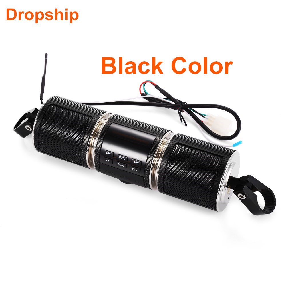 MT487 12V Black White Motorcycle MP3 Music Player Bluetooth Stereo Speaker FM Radio With LED Display Waterproof