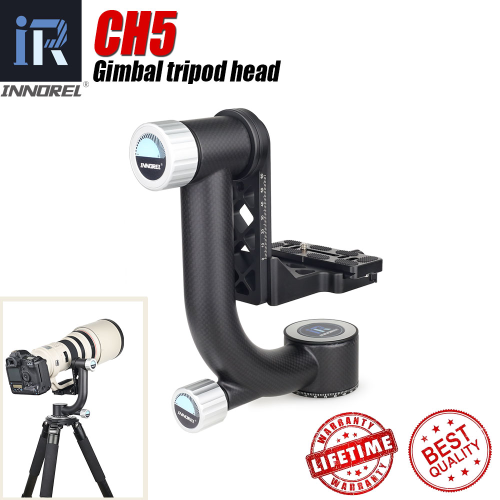 INNOREL CH5 Tripod Head QR Plate Carbon Fiber Gimbal for Telephoto Lens 720°Rotation High Precision CNCTripod Heads   -