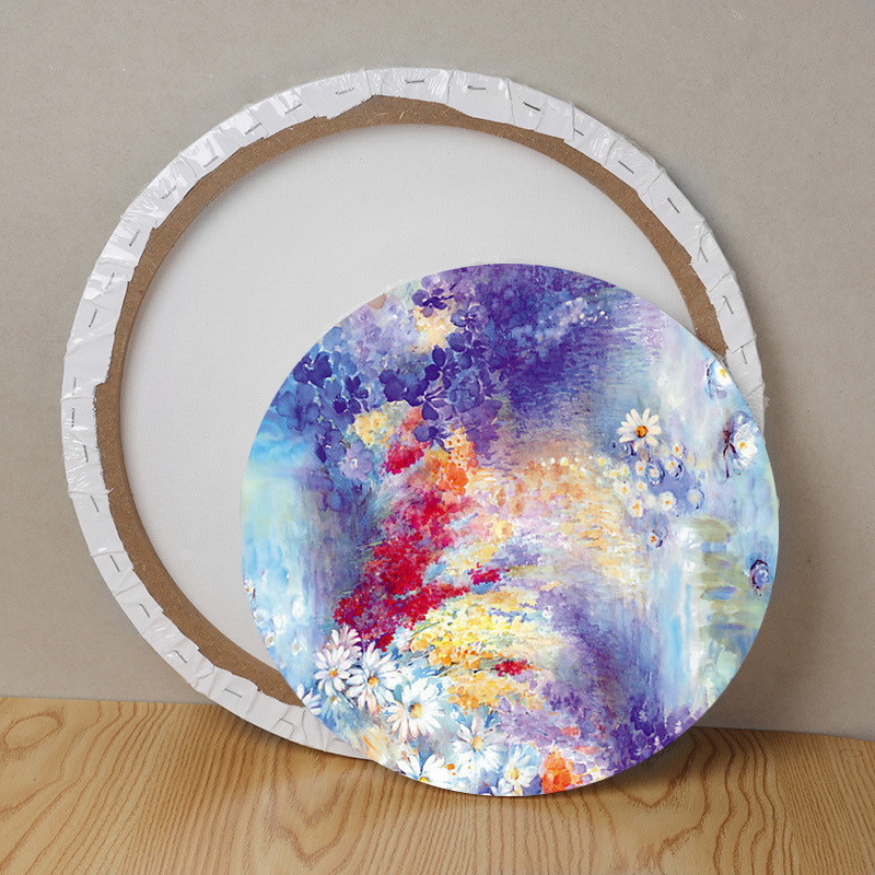 New Round Blank Screen Wooden Plate White Black Frame Canvas Board Plate Watercolor Painting DIY Crafts For Acrylic Oil Painting