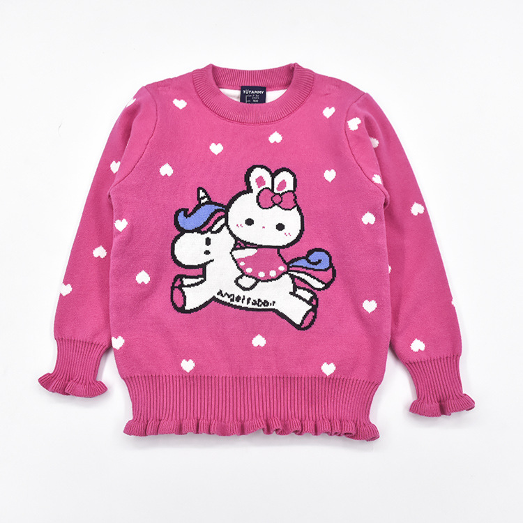 Autumn & Winter 2-6 GIRL'S Clothes Girls Cartoon Phone Case Cotton Thread Clothing Sweater Double Layer Sweater Female Baby Swea