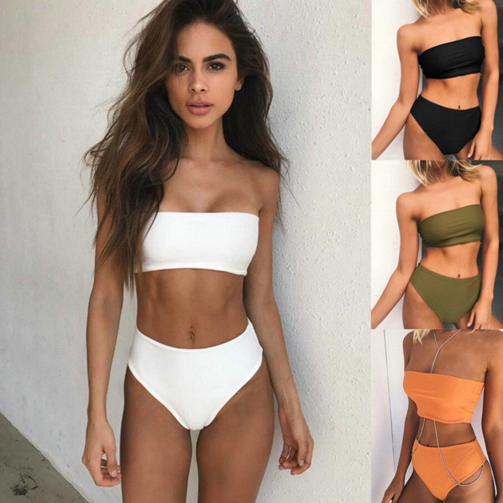 5 Colours Strapless Swimwear Women Solid High Waist Sexy Bikini Swimsuit Two Pieces Bathing Suit Popular Swimming Suit Beachwear