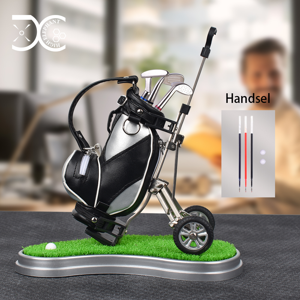 Golf Pens With Golf Bag Holder, With 3 Pieces Aluminum Pen Office Desk Golf Bag Pencil Holder For Fathers Day,Golf Souvenirs Un