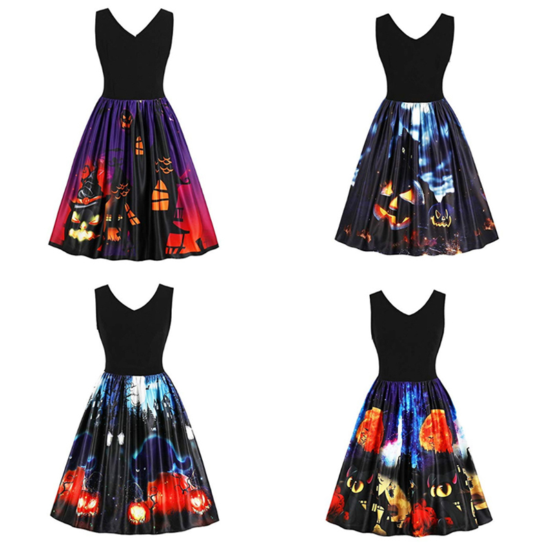 Printed Dress Amazon <font><b>Ebay</b></font> Hot Sale Halloween Black Cat Pumpkin Sleeveless Dress 8065-1 M image