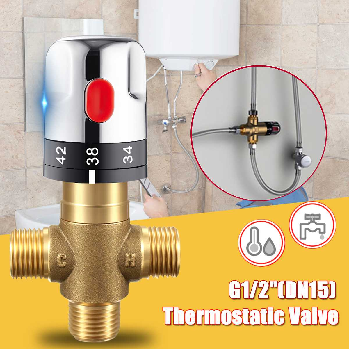 NEW Xueqin 1PC Brass Pipe Thermostat Faucet Thermostatic Mixing Valve Bathroom Water Temperature Control Faucet Cartridges