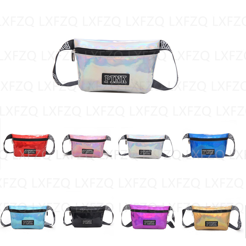 Holographic Waist Bag Pink Belt Bag Laser Women's Purse Heuptas Reflective Fanny Pack Transparent Chest Bag MiNi Waist Pack