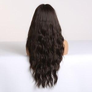 Image 2 - EASIHAIR długa fala ciemne brązowe peruki syntetyczne dla kobiet Cosplay peruki z grzywką żaroodporne różowe peruki wysokiej temperatury włókna