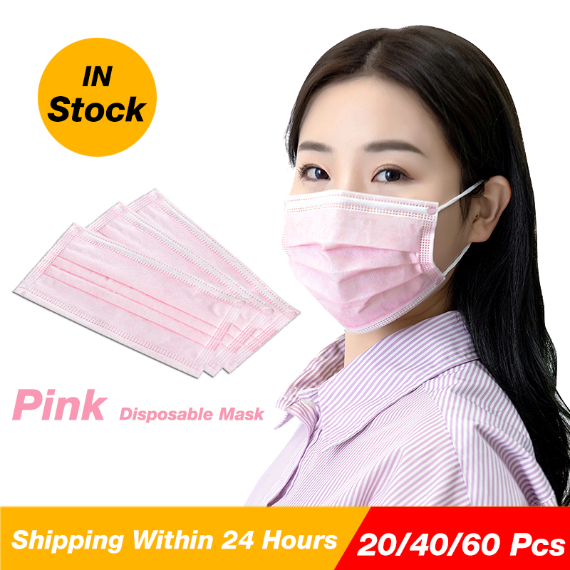 60 Pcs Pink Face Mask With 3 Layers Protection For Woman Health Care Disposable Girl Pink Earloop Mouth Mask With Box Pack