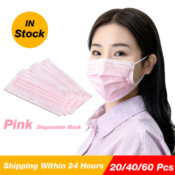 Pink face mask with 3 layers Protection for woman health care disposable girl pink earloop mouth mask with box pack цена 2017