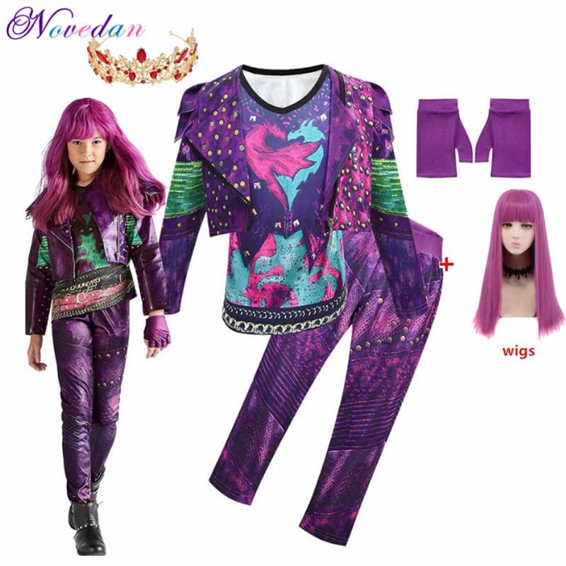 Crianças descendentes 3 mal traje para meninas evie cosplay fantasia criança halloween roupas peruca festa de aniversário vestido fantasia