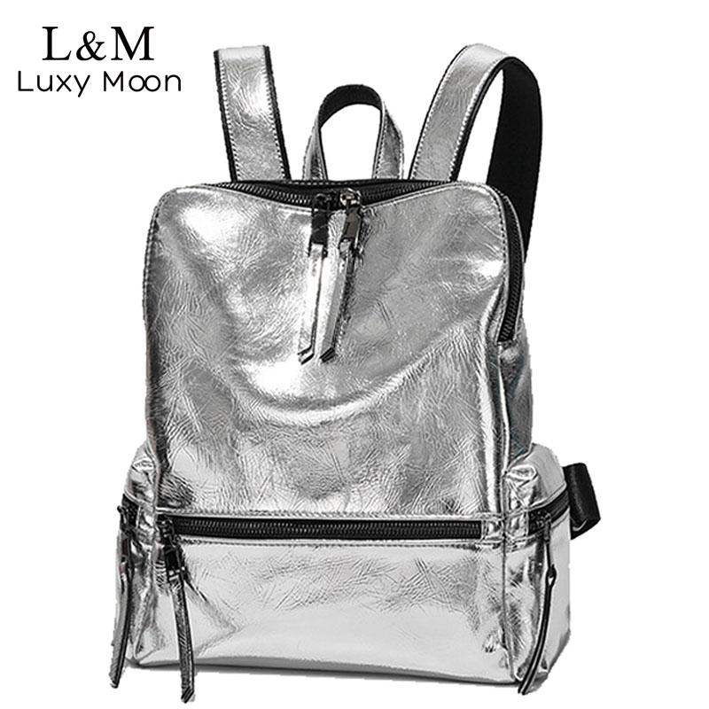 Women's Backpack 2019 Fashion School Bag For Teenage Girls Back Pack Silver Glitter Bag Large Backpack Leather Backpacks XA523H