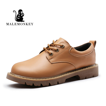 MALEMONKEY 932727 Oxford buty damskie zamszowe płaskie buty skórzane 2020 moda brytyjskie Retro brązowe wn czarne damskie buty typu Oxford tanie i dobre opinie Oksfordzie Skóra Split RUBBER Lace-up Pasuje prawda na wymiar weź swój normalny rozmiar Biuro i kariera Szycia Wiosna jesień