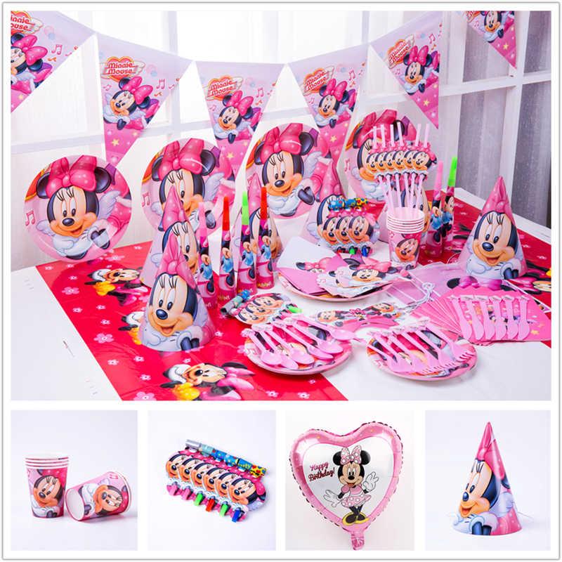 ディズニーミニーマウス女の子子供のパーティーの装飾紙コップナプキンプレートストローベビーシャワー手下パーティー用品