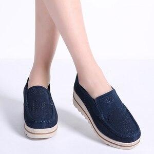 Image 3 - Baskets en cuir daim pour femme, STQ 2020, chaussures de printemps chaussures plates, à talons plats, mocassins chaussures décontractées
