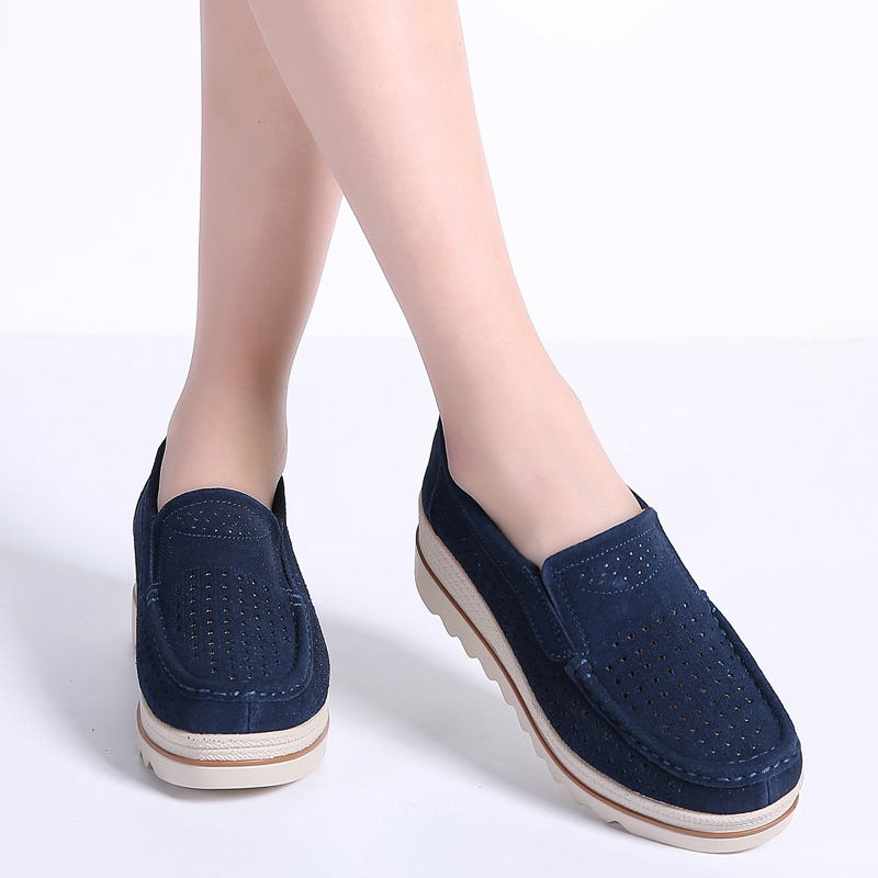 Image 3 - STQ 2020 Spring Women Flats Shoes Platform Sneakers Shoes Leather Suede Casual Shoes Slip On Flats Heels Creepers Moccasins 3088women flats shoesflats shoesslip on flats -