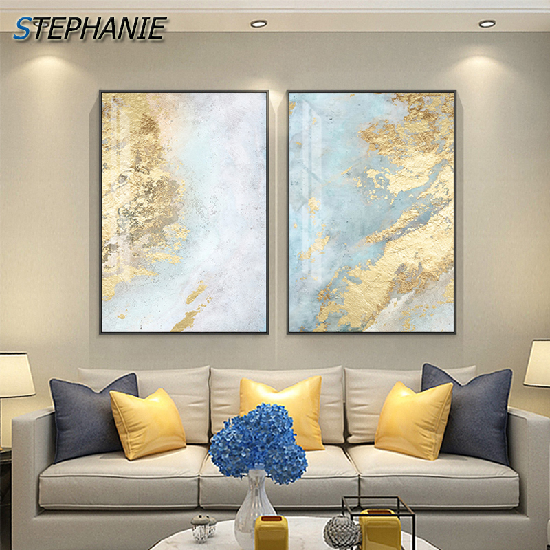 >Nodic <font><b>White</b></font> Light <font><b>Blue</b></font> Canvas Painting Abstract Wall Art Pictures for Living Room Big Cuadros Tableaux Big Gold Poster and <font><b>Print</b></font>