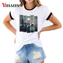 3D T Shirts Women Print Tees Snow Forest Graphic Tee Summer Stylish Short Sleeve White Casual Unisex Tops