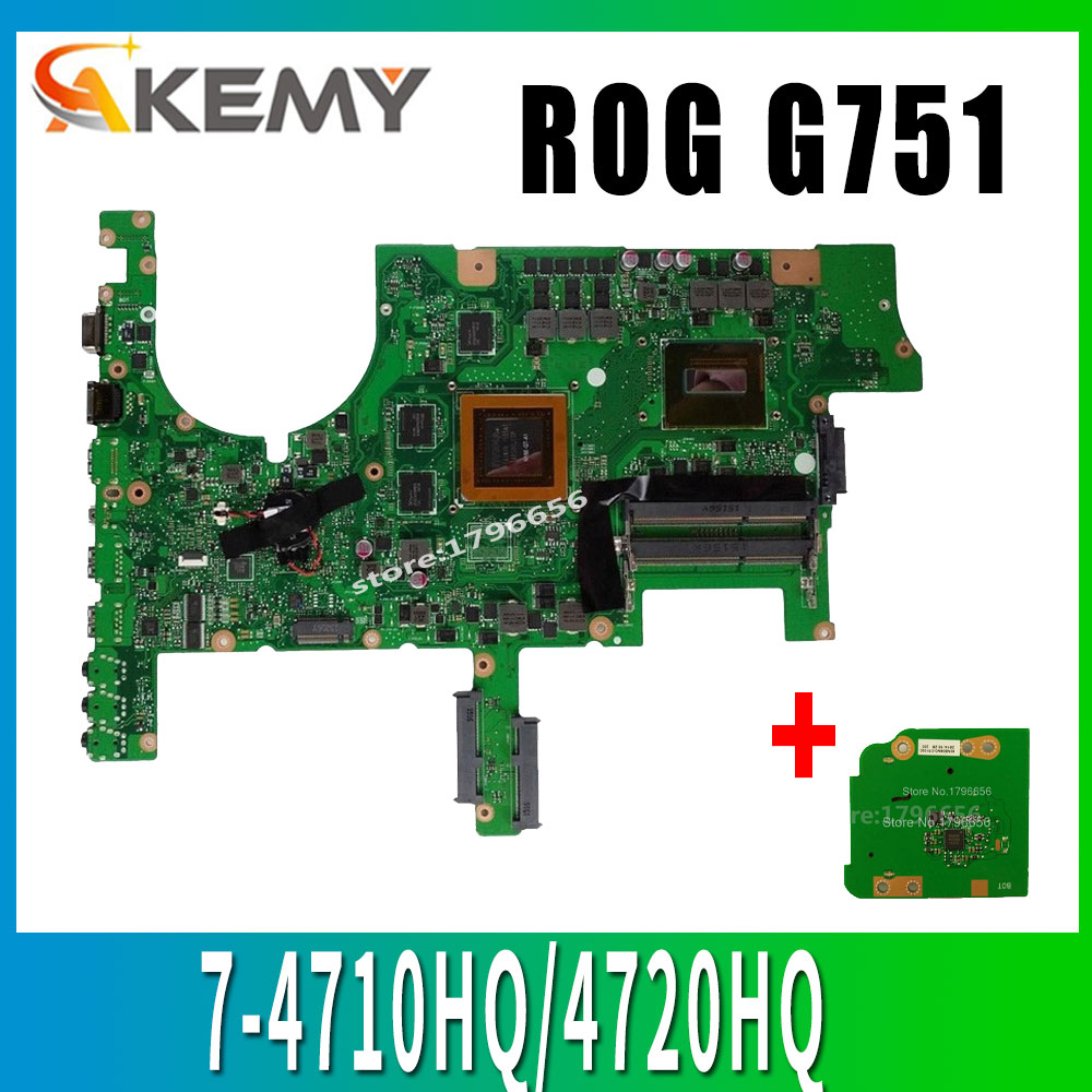 Send board <font><b>G751JY</b></font> GTX970M/3G/I7-4710HQ/4720HQ Laptop Motherboard for <font><b>ASUS</b></font> <font><b>ROG</b></font> G751 G751J <font><b>G751JY</b></font> G751JT G751JL Notebook Mainboard image