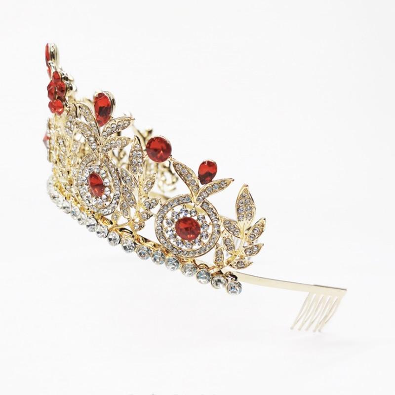 HG001 Classic gold rhinestone crown princess girl bridal wedding hairpiece large fashion wedding tiara women hair accessories