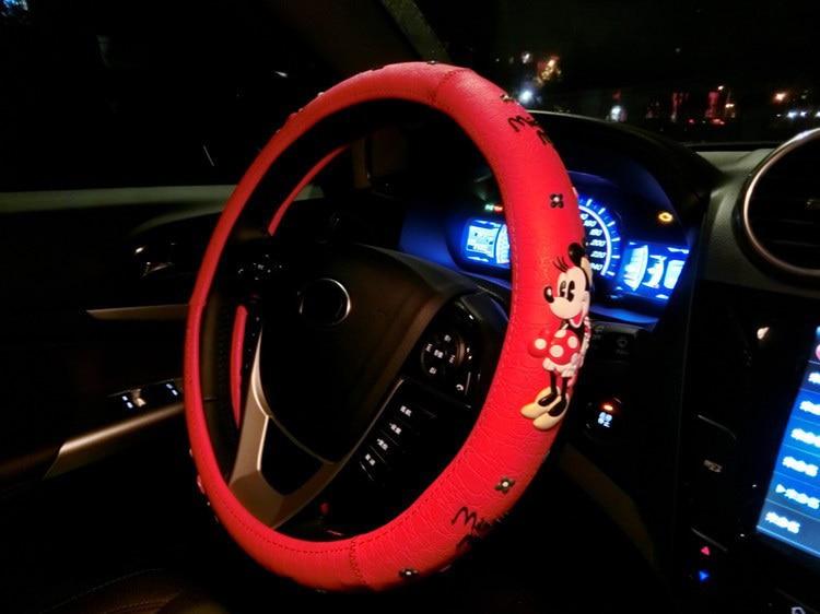Мультяшные милые чехлы на руль с принтом Микки Мауса, автомобильные чехлы на руль, черные латексные аксессуары для салона автомобиля для девочек