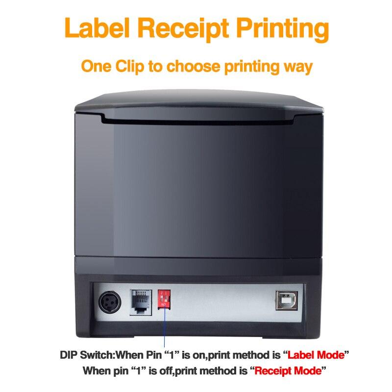 Thermische label pos bluetooth drucker 80MM label empfang barcode aufkleber drucker impressora etiqueta drukarka etykiet 127 mm/s USB