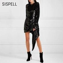 Женское платье с О образным вырезом и высокой талией sispell