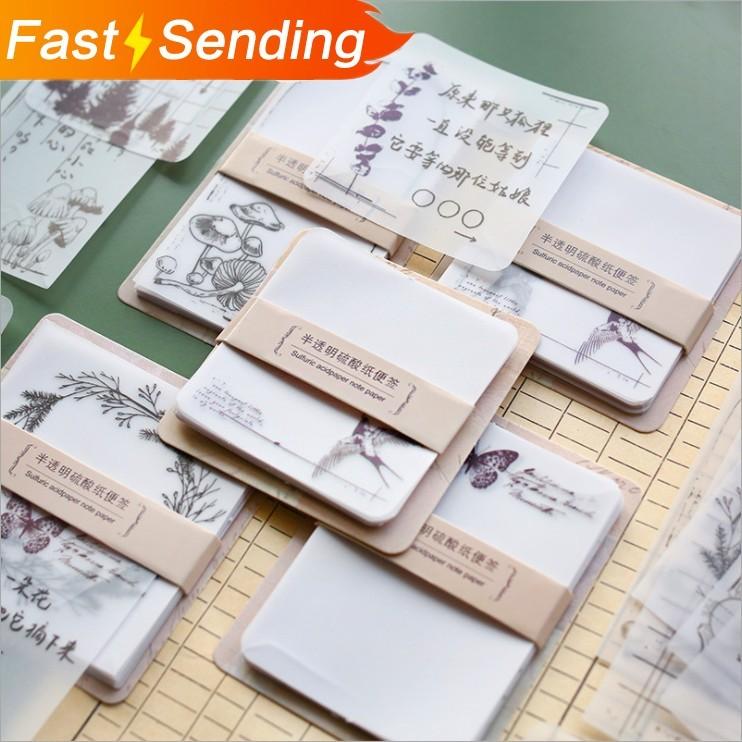 JIANWU 30sheets Plant Element Memo Pad Sticker Notepad Creative Planner Material Journal Note PadRetro School Supplies Kawaii