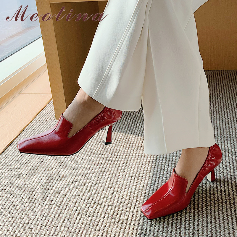 Meotina High Heels Women Pumps Natural Genuine Leather Kitten High Heels Shoes Real Leather Square Toe Shoes Ladies Red Size 39