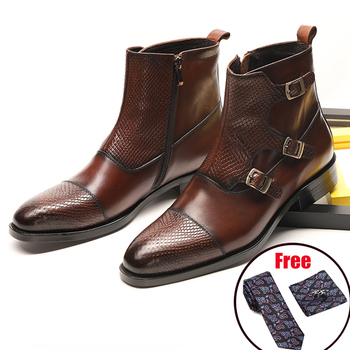 Men winter Boots Genuine cow leather chelsea boots brogue casual ankle flat shoes Comfortable quality soft handmade black 2020 mycolen brand quality genuine leather winter boots comfortable black men shoes men casual handmade round toe zip wear boots