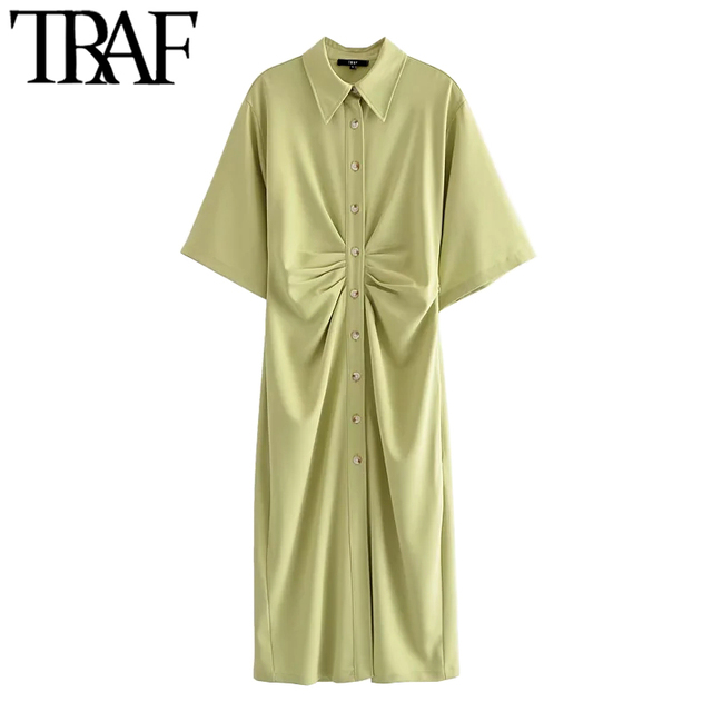 TRAF Women Chic Fashion Button-up Draped Midi Shirt Dress Vintage Short Sleeve Side Zipper Female Dresses Vestidos 3