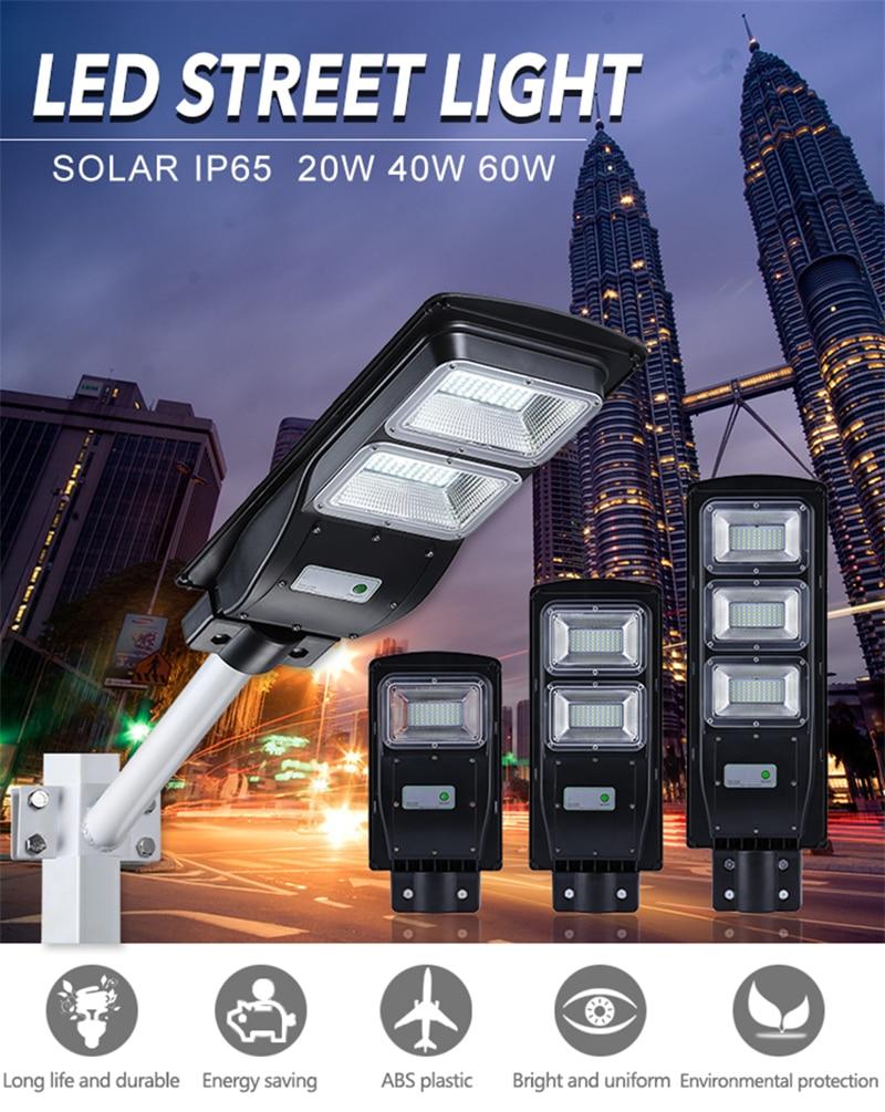 20W 40W polycristallin panneau solaire contrôle de la lumière Radar capteur lampe extérieure Lithium fer phosphate batterie éclairage extérieur
