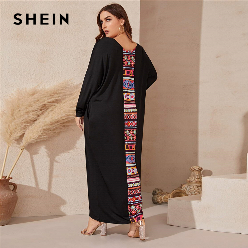 SHEIN Plus Size Black Tribal Print Panel Maxi Tee Dress Women Spring Casual Scoop Neck Tunic Plus Modest Maxi Dresses SHEIN Women Women's Clothings Women's Shein Collection