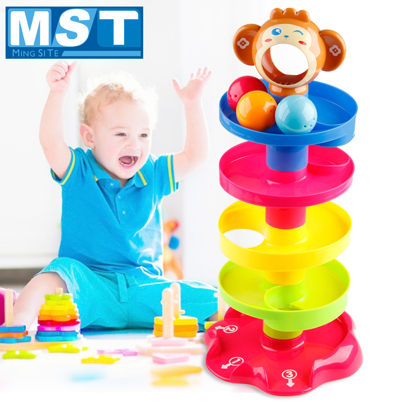 Infant Colorful Tower Ramp Billowed Ball Cute Animals Educational Baby Toys Rolling Balls Beads Development Game For Babies