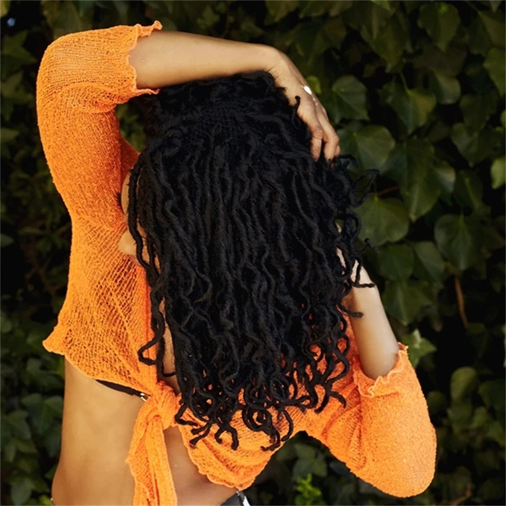 18 30 Inch Afro Synthetic Nu Faux Locs Crochet Hair Extenssion For Black Women 20 Strands Curly Ombre Goddess Faux Locs Braids