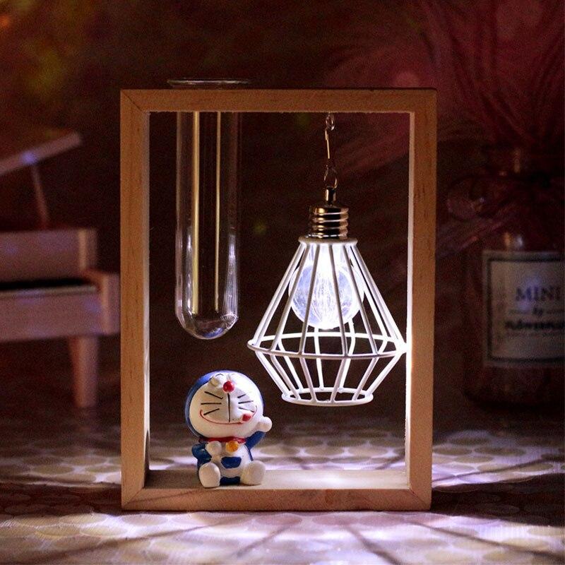 LED bande dessinée veilleuse Doraemon Figure en bois cadre lampe de Table pour enfants enfants chambre maison lampe décorative noël filles cadeau