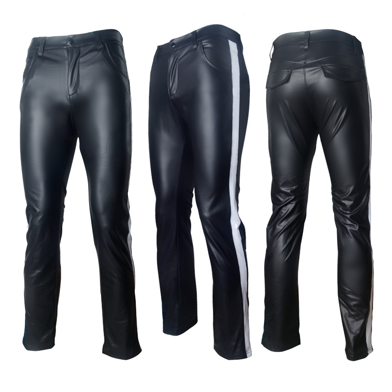 Sexy Male Stripe Splice Leather Pants Fad Tight Patent Leather Outfit Men's Wear Faux Leather Punk Pants Elastic Tight Trousers