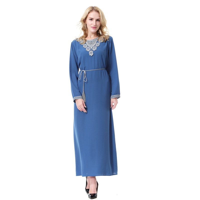 Muslim Fashion Long Sleeve Turkey Dress Woman Robe Saudi Arabia Malaysia Robe Long Abaya Dress Indonesia Kaftan Dubai image