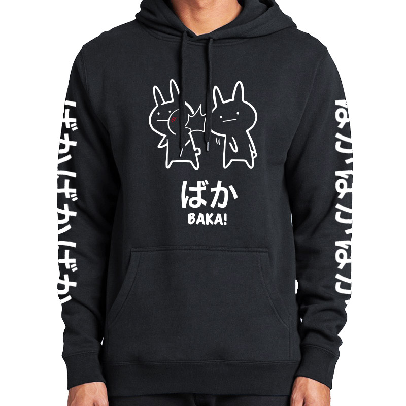 Baka Rabbit Slap Hoodies Japan Anime Funny Cute Thick Hoody High Quality Black Japanese Sweatshirt Pullover