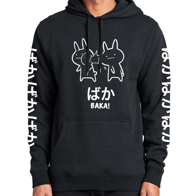 Baka Rabbit Slap Hoodies Japan Anime Funny Cute Thick Hoody High Quality Black Japanese Sweatshirt Pullover