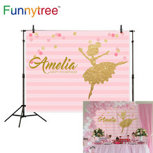 Funnytree photography photo zone ballerina first birthday photozone background party pink stripe dancer backdrop photophone(China)