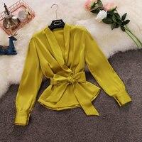 2019 autumn new female deep V neck lantern sleeve slim ruffles shirt women's solid lace up satin blouse women shirts top