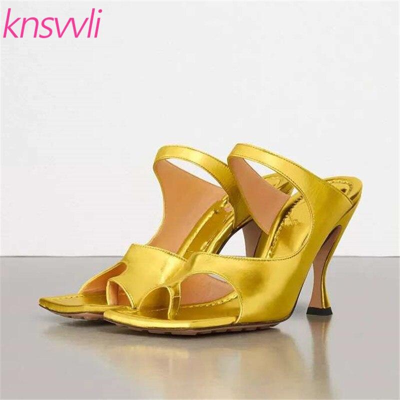 New Gold Wrinkled Leather Sexy High Heel Slipper Women Flip Flops Genuine Leather Mules Shoes Women Split Toe Runway Shoes Woman