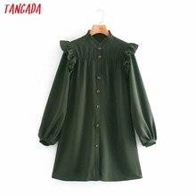 Tangada – Mini robe à volants et manches longues pour femme, chemise à la mode, verte, XN60, 2020