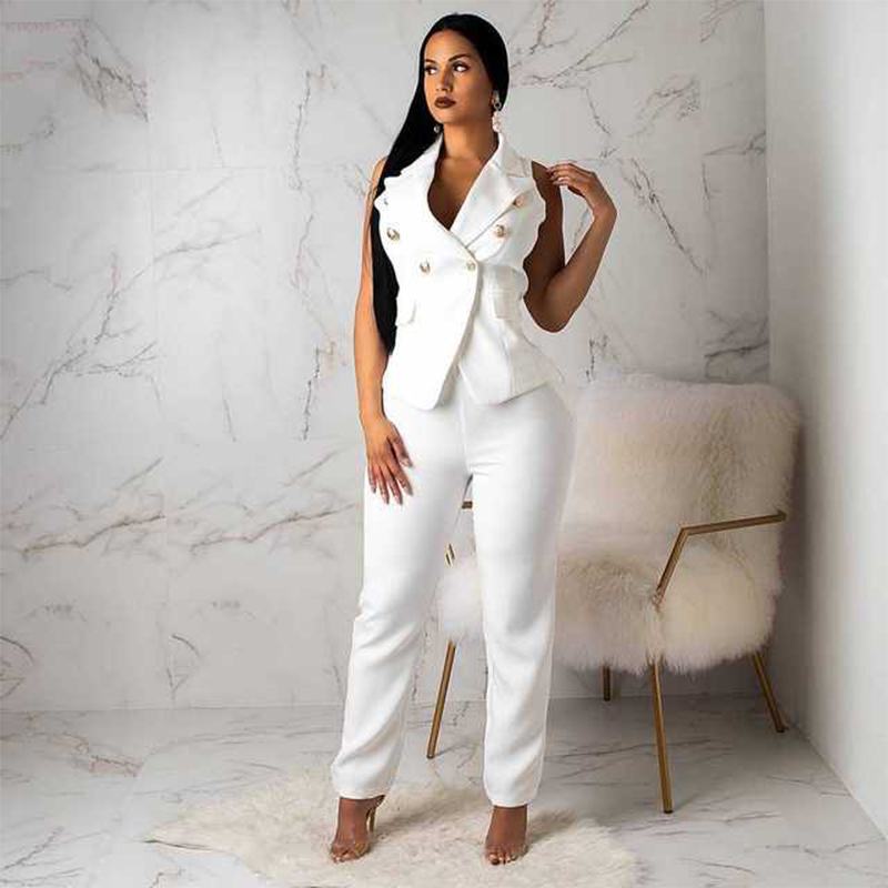 New Women Suits Office Sets Two-piece Suit Vest Suit Vest Trousers Summer Woman Suits Lady Suit Office Streetwear Terno Feminino