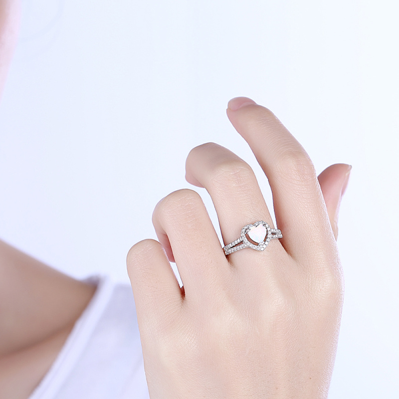 Opal-Ring Wedding-Jewelry Engagement Silver Heart White Fashion Overlay R2084 CZ Elegant