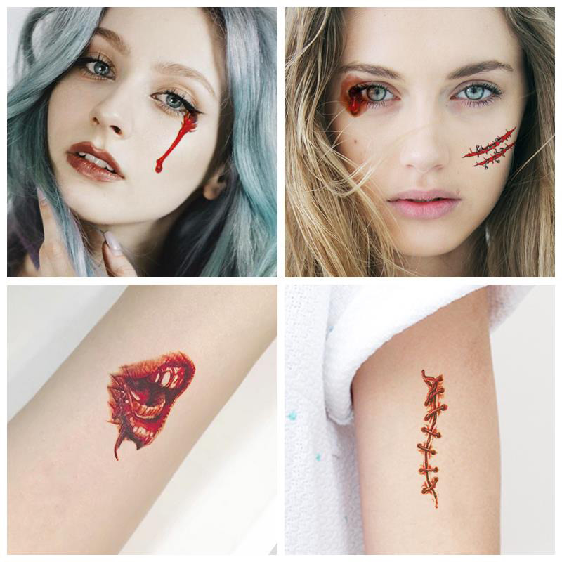 Temporary Tattoo Sticker Waterproof Instant Stitched Wound Scary Scars Convenient Tattoo Sticker For Halloween Decor New
